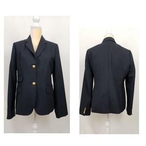 J. Crew Navy Blue Blazer W. Goldtone Crest Buttons